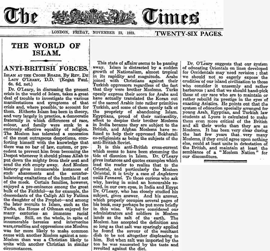 theTimes_Islam_1923